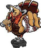 Baseball or Softball Thanksgiving Holiday Turkey Cartoon Vector