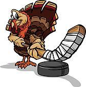 Hockey Thanksgiving Holiday Turkey Cartoon Vector Illustration