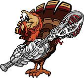Cartoon Vector Image of a Thanksgiving Holiday Lacrosse Turkey with Lacrosse Stick and Gloves