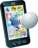 Golf ball flying out of mobile phone