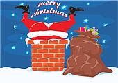 Santa in the chimney - Christmas