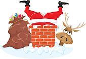 Santa in the chimney and reindeer
