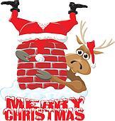 merry christmas - santa & reindeer