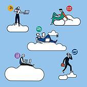 Cloud Computing Man Silhouettes BN
