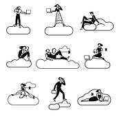 Cloud Computing Silhouettes BN