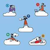 Cloud Computing Woman Silhouettes color ok