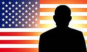 American flag and the silhouette