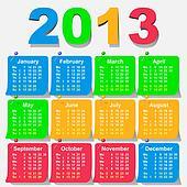 vector 2013 calendar design - week starts with monday