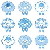 Baby Lambs, Patchwork, Pastel Blue