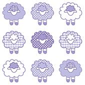 Baby Lambs, Patchwork, Lavender