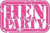 Grunge hen party rubber stamp, vect