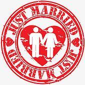 Grunge just married rubber stamp, v