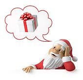 Santa Claus is dreaming about presents