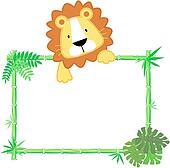 cute baby lion frame