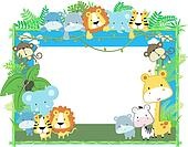 baby animals frame vector