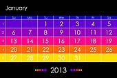 Vector calendar 2013 -January