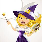 Cute young witch with magick wand