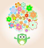 cute vector owl with many flowers