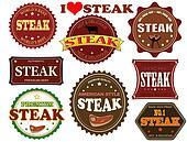 Set of steak labels