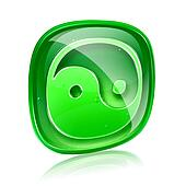 yin yang symbol icon green glass, isolated on white background.