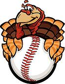 Cartoon Vector Image of a Happy Thanksgiving Holiday Baseball or Softball Turkey Holding a Baseball Ball