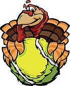 Cartoon Vector Image of a Thanksgiving Holiday Tennis Turkey Holding a Tennis Ball