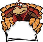 Happy Thanksgiving Holiday Turkey Holding Sign Cartoon Vector Il