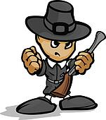 Tough Guy Pilgrim with Gun and Hat Vector Graphic