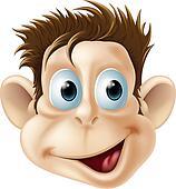 Laughing happy monkey face cartoon