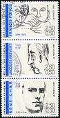 FRANCE - CIRCA 1991: A stamp printed in France shows Poets: Francis Ponge (1899-1988), Jacques Prevert (1900-1977), Rene Char (1907-1988), circa 1991