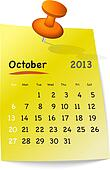 Calendar for october 2013 on yellow sticky note