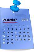 Calendar for december 2013 on blue sticky note