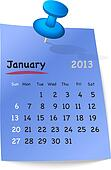 Calendar for january 2013 on blue sticky note