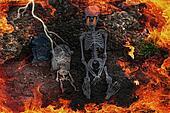 hell fire in  a graveyard