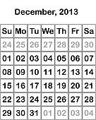 month December 2013 Calendar