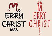 hand written Christmas card, vector