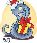 Adorable little snake with Christma