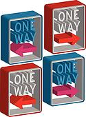3d one way sign
