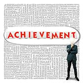Business word cloud for business and finance concept, Achievement