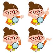 Magnifying glass and young woman