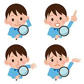 Magnifying glass and boy