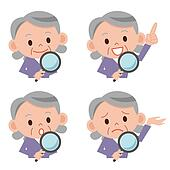 Magnifying glass and senior woman