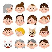 Set of various cartoon faces