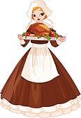 Pilgrim girl with plate