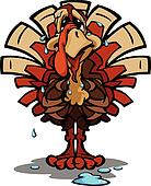 Nervous Thanksgiving Holiday Turkey Cartoon Vector Illustration