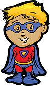 Cute Boy In Super Hero Outfit Cartoon Vector Illustration