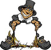 Happy Thanksgiving Pilgrim with Sign Cartoon Vector Illustration