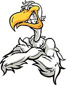 Cartoon Vector Image of a Sneering Seagull or Pelican Mascot with Crossed Arms