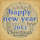Happy New Year 2013 in tag cloud
