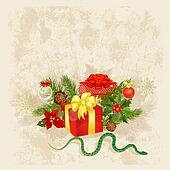Retro Christmas card with gifts and a snake